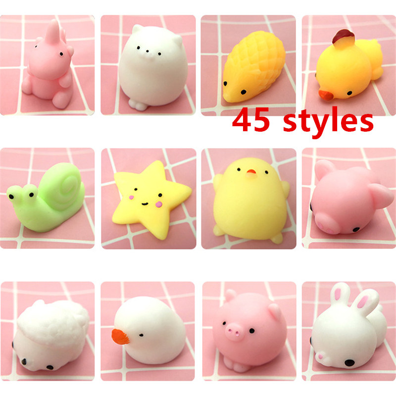 4/10pcs Cute Unicorn Cat Rabbit Bear Sun Star Animals Dolls Antistress Ball Squeeze Mochi Rising Abreact Soft Sticky Squishy Toy