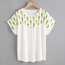 Feitong verão top moda t-shirt mulheres abacaxi impresso blusa em linha  reta manga curta o-pescoço tees tops   15 36255706c3f88