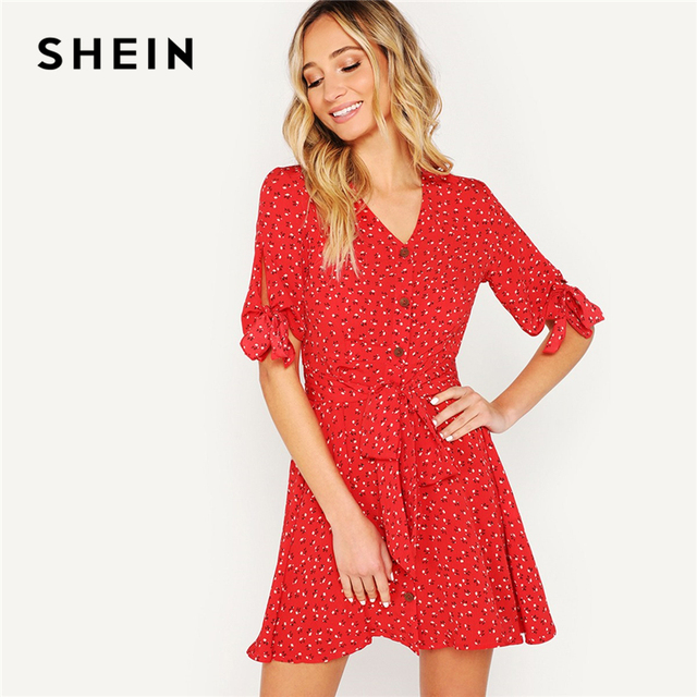 94f70be32d SHEIN Red Knot Cuff Button Up Ditsy Floral Print Belted Summer Boho Dress  Women V-Neck Half Sleeve Shift Mini Elegant Dresses