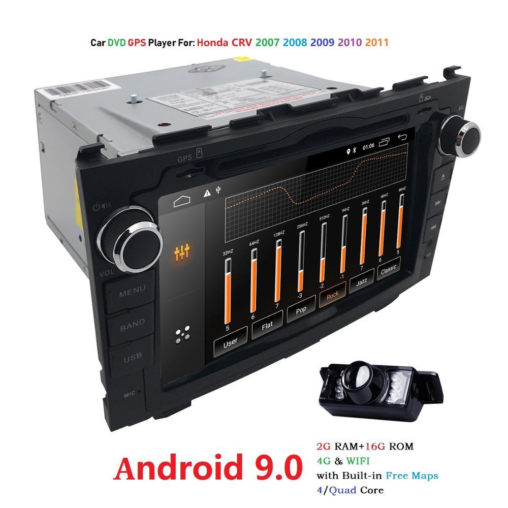 Android 9.0 HD 1024*600 Carro DVD Player de Rádio Para Honda CRV 2007 2008 2009 2010 2011 4G WIFI Navegação GPS Unidade de Cabeça din 2 2 GRAM