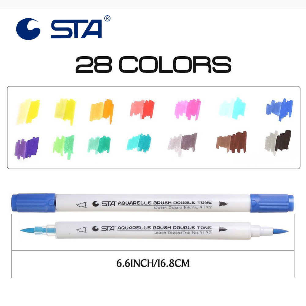 Image 4 - STA14Pcs Assorted  Dual Tips 28 Colors Watercolor Brush Markers Double Tone Sketch Markers for Adults Kids Design Bullet Journal-in Art Markers from Office & School Supplies