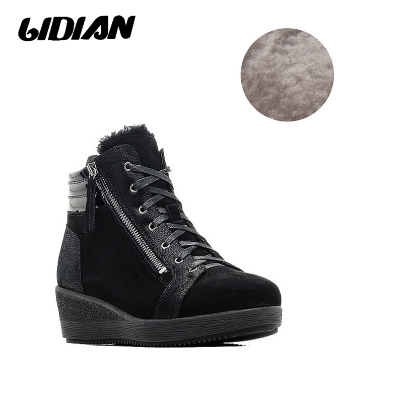 LIDIAN Sheep Suede Warm Short Plush Autumn Winter Genuine Boots 5cm Wedges Heels Black Classical Shoes Russian Size 36-41 B31LIDIAN Sheep Suede Warm Short Plush Autumn Winter Genuine Boots 5cm Wedges Heels Black Classical Shoes Russian Size 36-41 B31