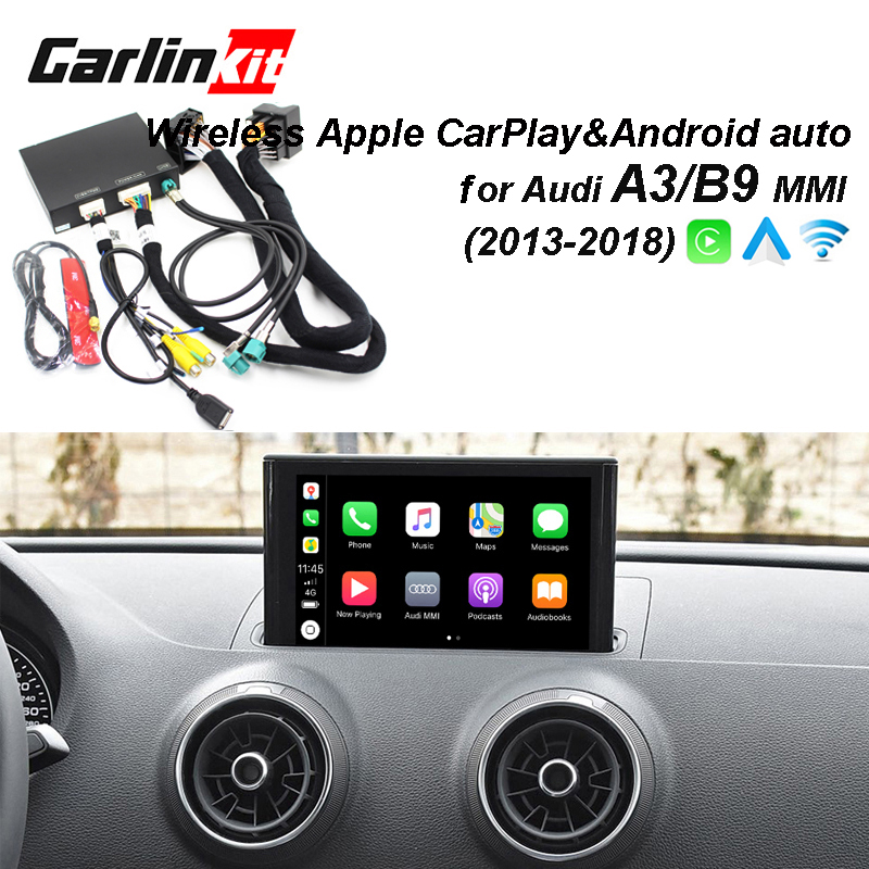 2019 Carro CarPlay Android Auto Decodificador Sem Fio Da Apple para Audi A3/B9 tela iOS & imagem Inversa MMI Original kit Retrofit