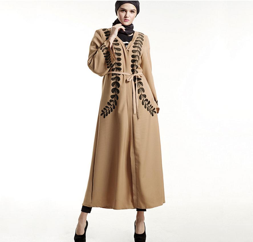 Big size 2018 Adult printed style Cardigan Robes Musulmane Turkish Abaya Muslim Cardigan Robes Arab Worship Service Wj223 Women Women's Abaya Women's Clothings cb5feb1b7314637725a2e7: Khaki