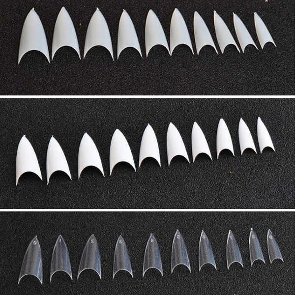 Dropshipping 500 Cái Trắng Sáng Tự Nhiên Đầu Móng Tay UV Gel Giả Phong Cách Pháp Phụ Kiện Trang Trí Móng Smj
