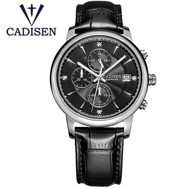 цена на 2017 Fashion Mens Watches CADISEN Casual Geneva Quartz Watch Genuine Leather XFCS Men Wristwatch Male Clock Relogio Masculino