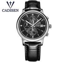 2019 Fashion Mens Watches CADISEN Casual Geneva Quartz Watch Genuine Leather XFCS Men Wristwatch Male Clock Relogio Masculino