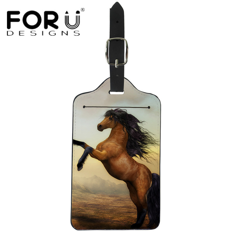 FORUDESIGNS Cute 3D Animal Horse Boarding Tags Fashion PU Leather Travel Luggage Tag Women Waterproof Suitcase ID Address Holder
