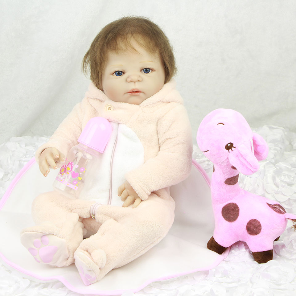 Hair Rooted Lifelike Baby Dolls Reborn Girl 23'' 57 cm Full Body Silicone Baby Toy Alive Babies Doll Wear Plush Rabbit Rompers 23 russian silicone reborn baby girl full body vinyl dolls touch real baby dolls lifelike real hair new 2017 kids playmates