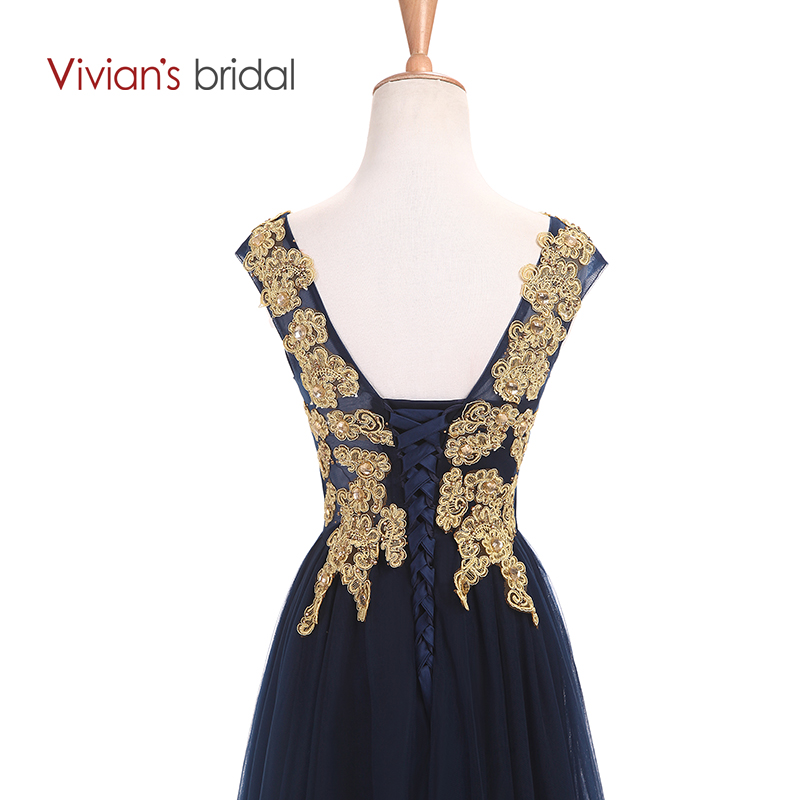 Vivians Bridal Gold Appliques Sleeve En Line Mor Of The Bride Dresses - Bröllopsfestklänningar - Foto 5