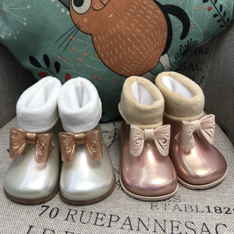 60c88f79b998a Mini Melissa 2019 lindas botas de lazo a prueba de agua Melissa Girl Jelly  Sandalias Zapatos de bebé transpirable Melissa Botas de lluvia sandalias de  playa ...