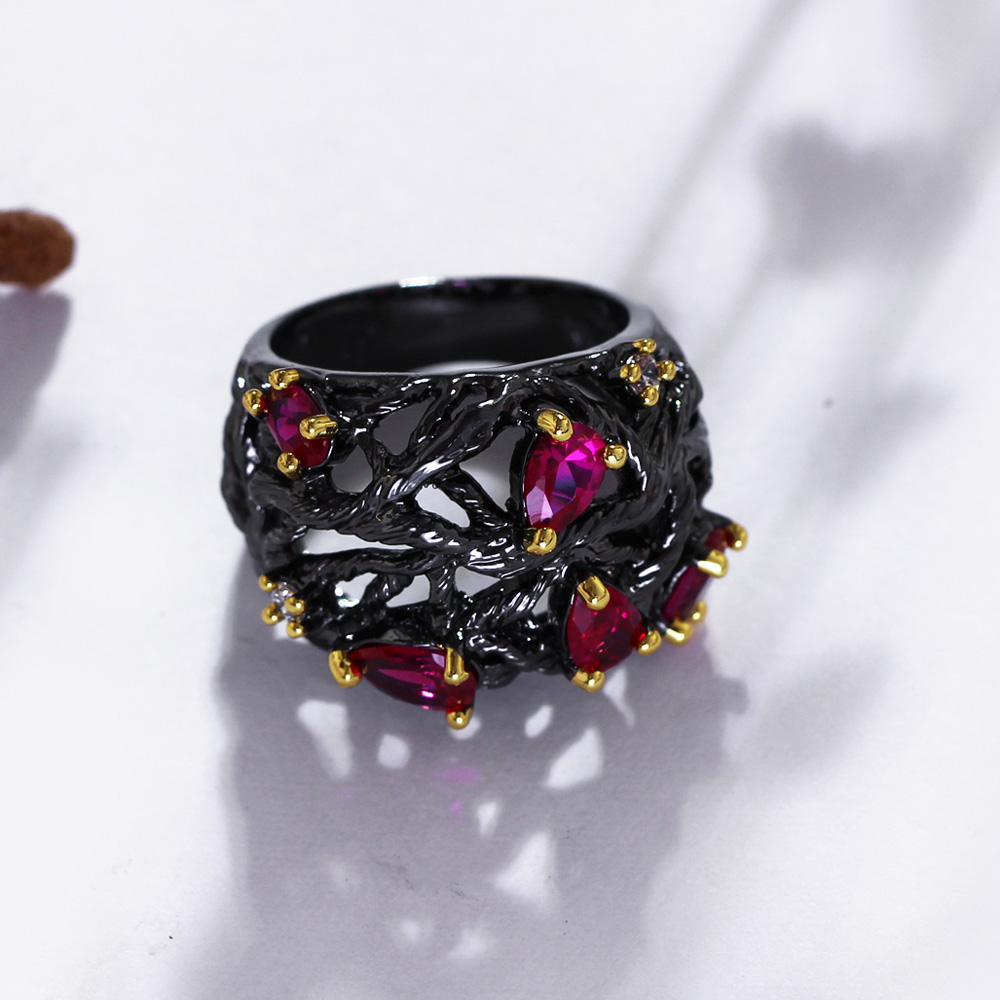 DreamCarnival 1989 Gothic Vintage Rings For Women Hollow Punk Flower Black Gold Color Fuchsia Red CZ Crystal Anillos Moda Anel