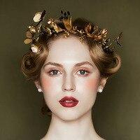 New Vintage Gold Tiara Headband Baroque Crown Crystal Pearl Tiaras Crowns Hairband Wedding Hair Jewelry Bridal