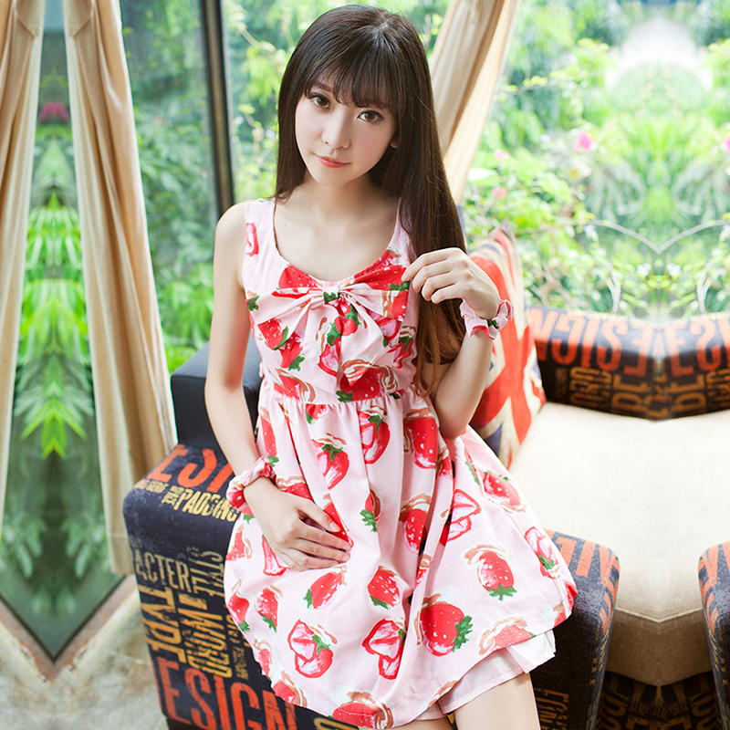 Japanese Dressing Gown: 2017 Cute Summer Japanese Strawberry Print Bow Tie Lolita