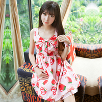 2017 New Summer Japanese Strawberry Print Bow Decorated Lolita Dress Women Cute Muti Style Grils Kawaii