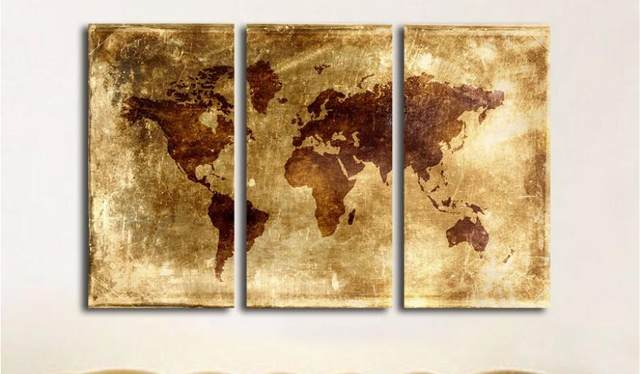 Online Shop New arrival modular Large Abstract World Map Canvas Art ...