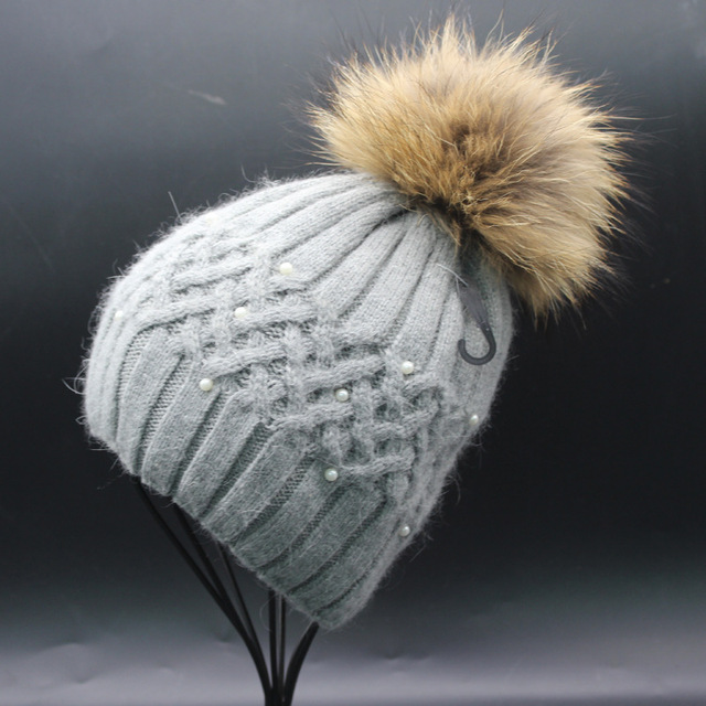 15cm genuine raccoon fur pom pom thick rabbit fur blended warm winter beanies peral decorated pom pom hats multi colors