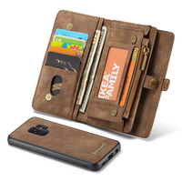 Luxury Genuine Leather Case For Samsung Galaxy S9 Plus Cover Adsorption Zipper Wallet Removeable Magnetic Shell On Phone Cases