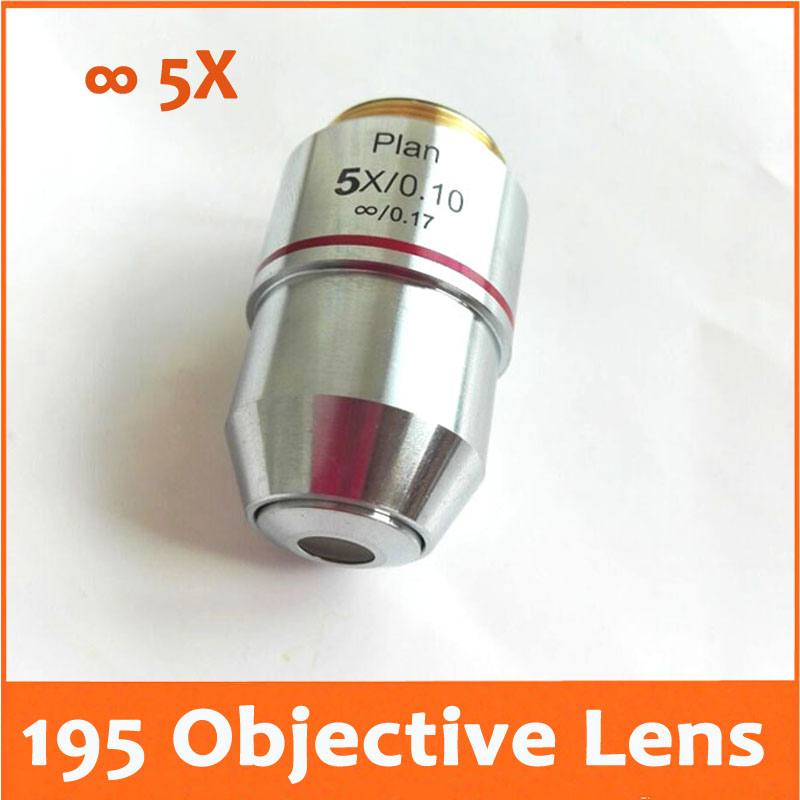 5X L=195 Infinity Plan Achromatic Objective Lens 4X/0.10 for Educational Lab Medical Bio-Microscope Biological Microscope 20.2mm  цены