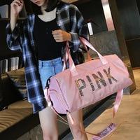 Gym bag female sports training one shoulder bag portable short distance travel luggage PINK mom bag with pocket
