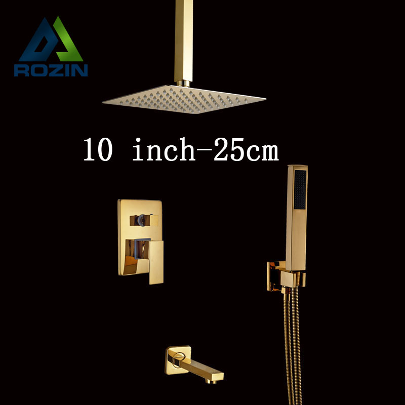 Multi-choice Golden Luxury Bathroom Shower Faucet Wall/ceiling Mount Tub Shower Mixer Tap with HandshowerMulti-choice Golden Luxury Bathroom Shower Faucet Wall/ceiling Mount Tub Shower Mixer Tap with Handshower