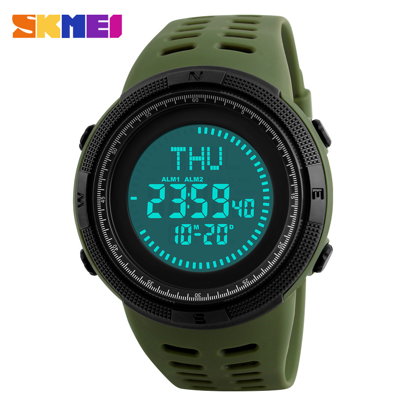 SKMEI Compass Men Sports Watches World Time Summer Time Watch Countdown Chrono Waterproof Digital Wristwatches Relogio Masculino купить недорого в Москве