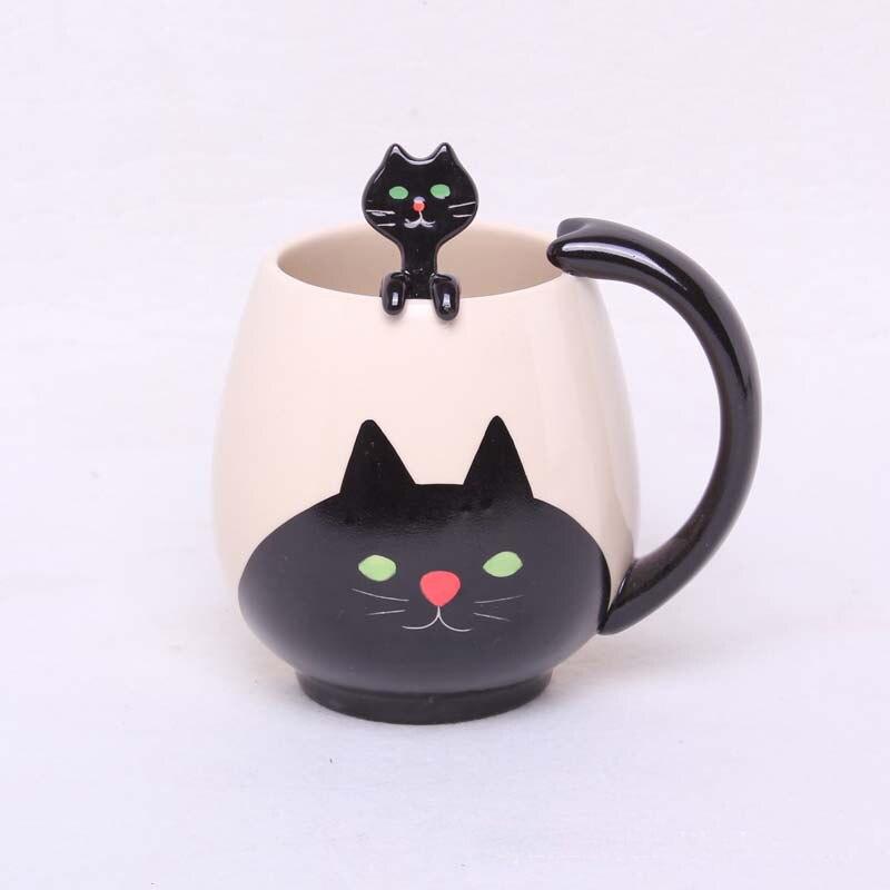 Кофейная чашка ручной росписи, мультяшная милая китайская панда/лягушка/кот/свинья, керамическая кружка, чайная чашка с ложкой