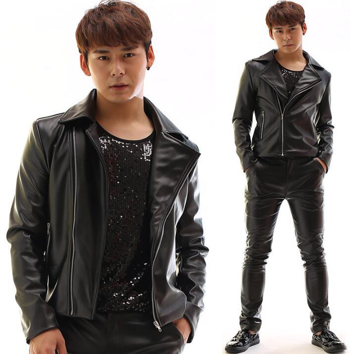 Personalized motorcycle mens leather jacket slim coat jackets oblique zipper jaqueta de couro stage street dance rock fashion