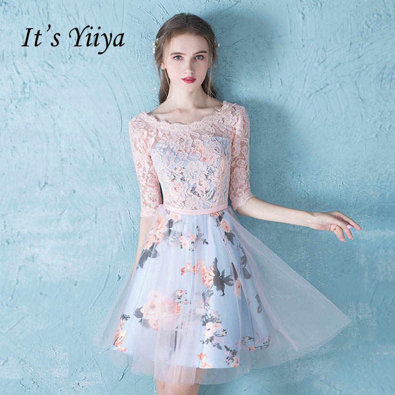 93061dfa33 It s YiiYa Cute Half Sleeve O-Neck Floral Print Lace Cocktail Dress Knee-  Length