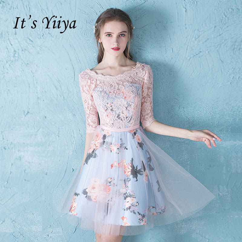 It's YiiYa Cute Half Sleeve O-Neck Floral Print Lace   Cocktail     Dress   Knee- Length Formal   Dress   Party Gown LX177