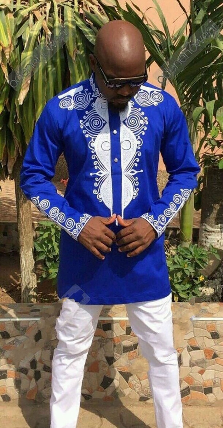 Men African Blue Cotton Wear Polished Dashiki Print Long Pullover Button Shirt Attire Stand Collar Top For Men Plus Size