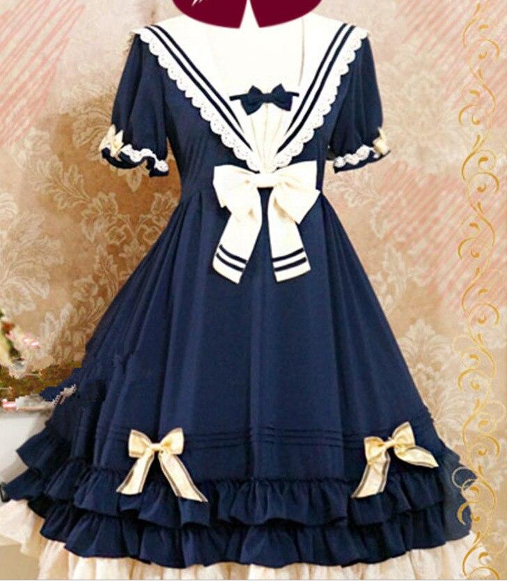 Été bleu mignon belle école princesse Lolita robe fille & femmes doux Kawaii manches courtes une-pièce marine robe de marin