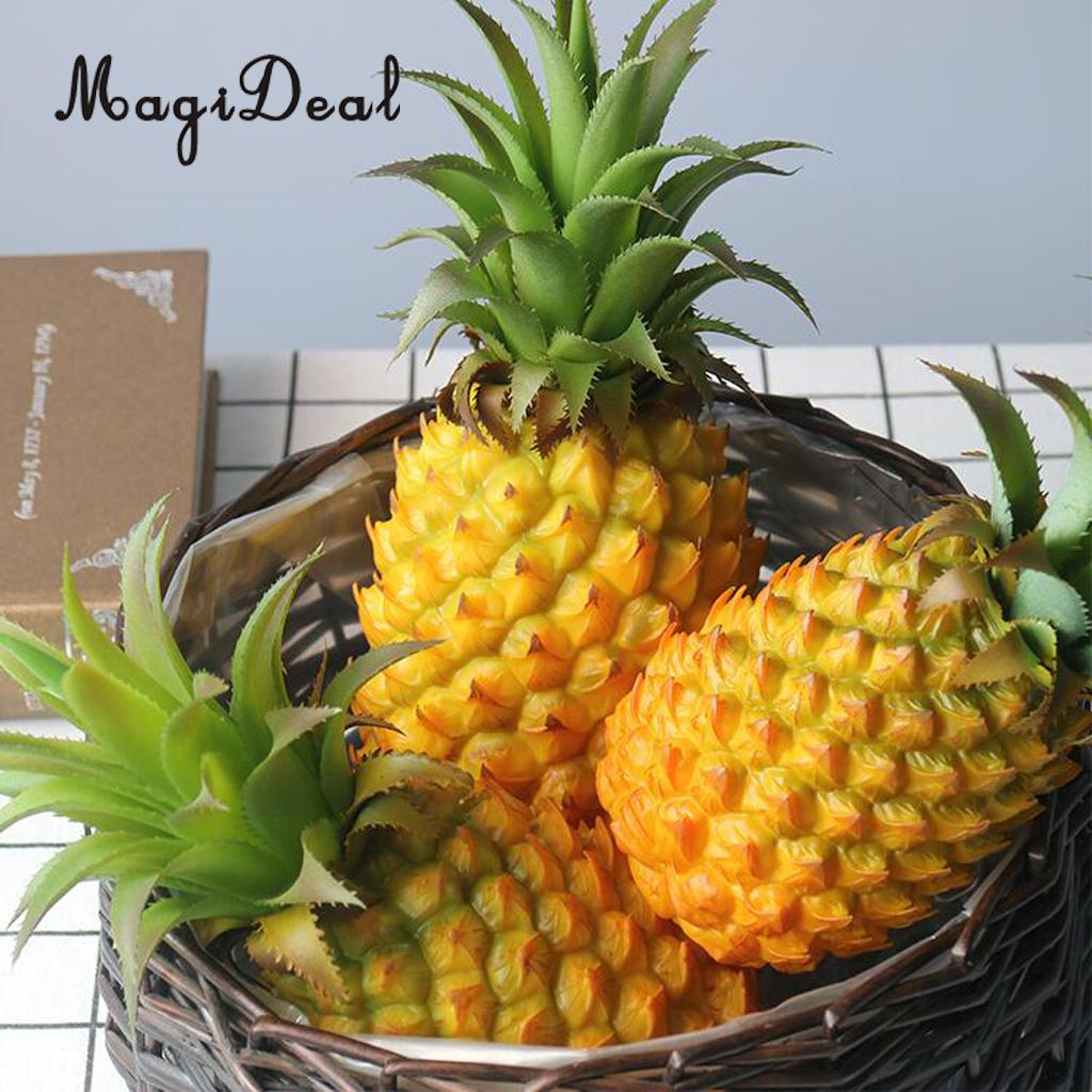 5x Lifelike Artificial Pineapple Plastic Cabinet Display Fruits Ornament