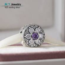 Se adapta a Pandora Charms Pulsera Diy Purple Clear CZ Granos de la Flor Original 925-Sterling-Silver Forget Me Not Del Grano Para La Joyería