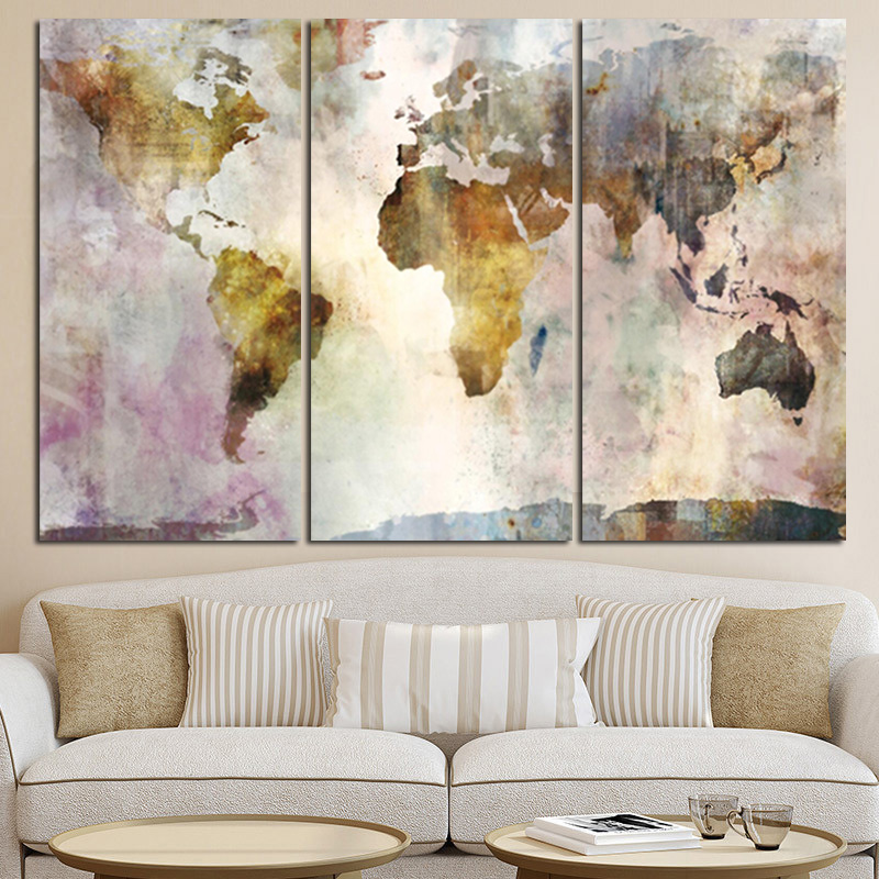 HTB1cLOQbKuSBuNjSsziq6zq8pXaq 3Panel Watercolor World Map Modular Painting Posters and Prints on Canvas Scandinavian Cuadros Wall Art Picture For Living Room