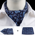 Fashion Brand Men Tie Handkerchief Cravat Silk Tie and Hanky Set Gentlemen Dots Paisley Tie Wedding Ascot Bowtie Tuxedo Scarf