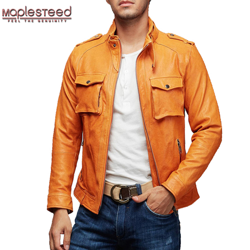 MAPLESTEED Genuine Leather Jacket Men Vegetable Tanned Goat Skin Pockets Yellow Slim Fit Men's Bomber Motorcycle Biker Coats 157