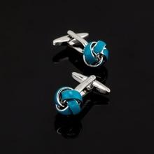 XK427 High high quality French Cufflinks Blue twist twist Cufflinks different males shirt wedding ceremony equipment glazed craft type
