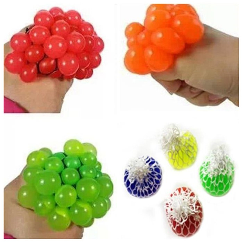 New Anti Stress Ball Mesh Grape Shape Squeeze Stress Venting Ball Reliever Toy Funny Gadgets Gifts For Adult And Child