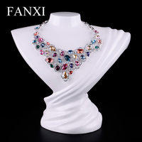 FANXI Free Shipping Elegant Artistic Necklace Stand Bust White Laquered Resin Jewelry Display Mannequin Boutique Decotation Show