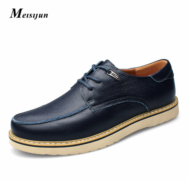 a86e695089be The first layer of leather Men bottom shoes leisure breathable fiat shoes  men shoe