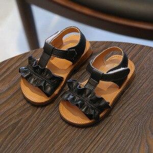Image 4 - Claladoudou/Детские сандалии на 12 16 см; Цвет розовый, бежевый; Однотонные летние сандалии для девочек; Обувь принцессы с оборками; Нескользящие детские сандалии для малышей; 2019