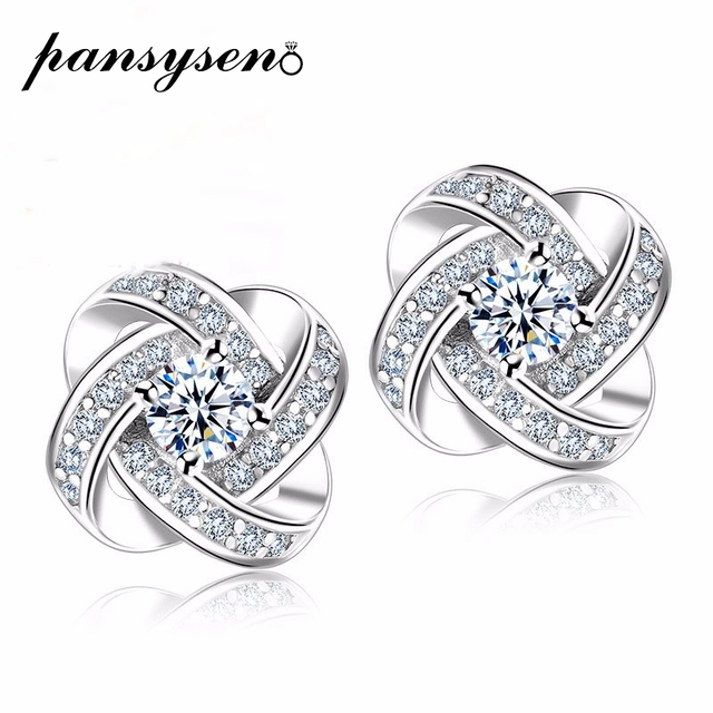 PANSYSEN 10MM 925 Sterling Silver Stud Earrings for Women Classic Wedding Engagement Earrings Female Fashion Fine Jewelry Gifts