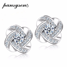 PANSYSEN 10MM 925 Sterling Silver Stud Earrings for Women Classic Wedding Engagement Female Fashion Fine Jewelry Gifts