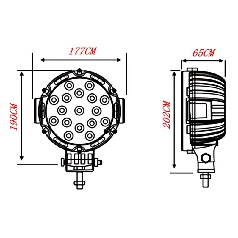 Yituancar 1X 51W 7 դյույմ կարմիր կլոր - Ավտոմեքենայի լույսեր - Լուսանկար 5