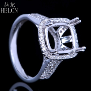 Image 5 - HELON Solid 14K White Gold 11X9MM Cushion/Emerald/Radiant Real Natural Diamonds Engagement Wedding Jewelry Semi Mount Ring