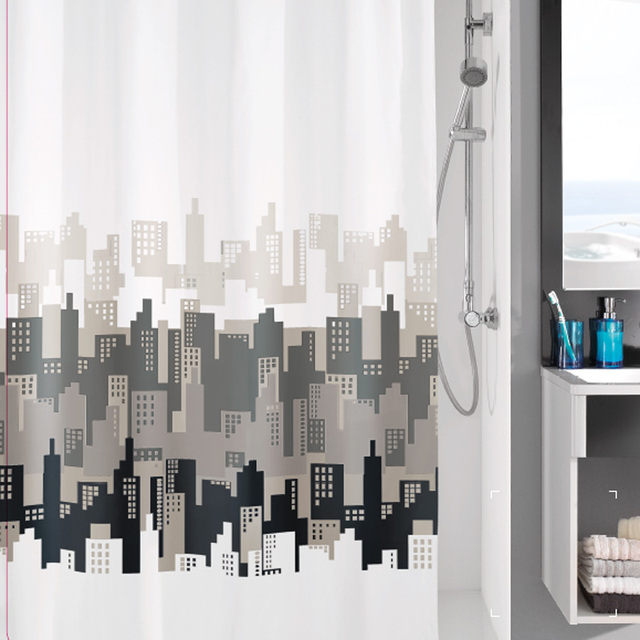 Paris Shower Curtain With 12pcs Hooks Bathroom Set Waterproof Polyester Fabric