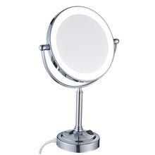 GuRun освещенное настольное зеркало со светодиодной подсветкой и 7x увеличительное и нормальное, двухстороннее 360 вращающиеся зеркала хромированная полировка