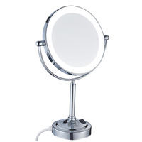 GuRun Lighted Vanity Desktop Mirror with led lights & 7x Magnifying & Normal, Double Sided 360 Rotated Mirrors Chrome Polished