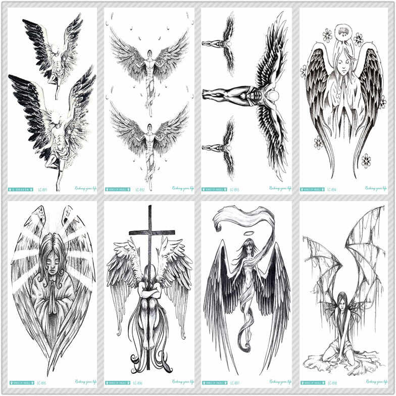 Rocooart Sketch Angel Fake Tattoo Cross Wings Large Taty Men Temporary Tattoo Sticker For Body Art Tatouage Temporaire Female Aliexpress